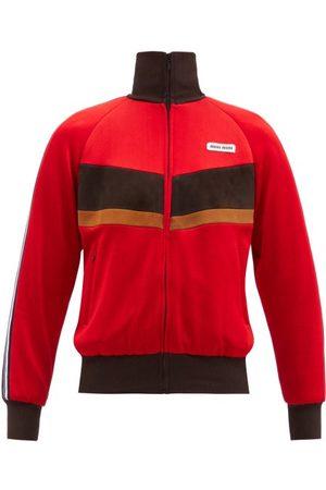 Miu Miu High-neck Suede-striped Jersey Track Jacket