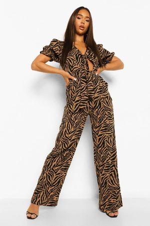 Boohoo Damen Jumpsuits - Womens Jumpsuit Mit Zierknoten Und Zebramuster - - 34