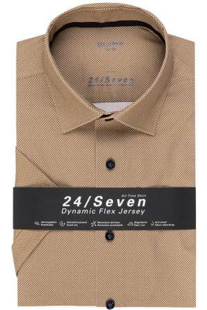 Olymp Herren Business - Halbarm-Hemd Luxor 24/7 Modern Fit braun