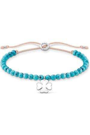 Thomas Sabo Damen Armbänder - Armband türkise Perlen mit Kleeblatt
