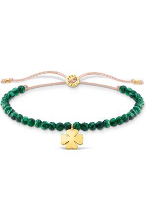 Thomas Sabo Damen Armbänder - Armband grüne Perlen mit Kleeblatt gold