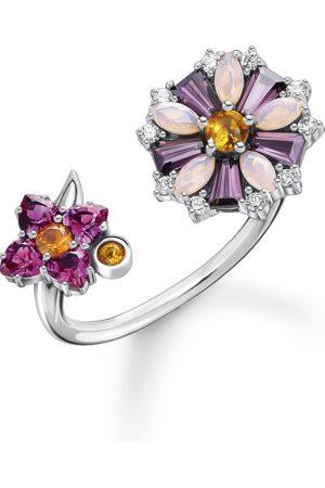 Thomas Sabo Ring Blumen farbige Steine silber