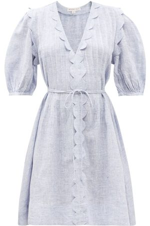 WIGGY KIT Martha Scalloped-trim Linen-chambray Dress