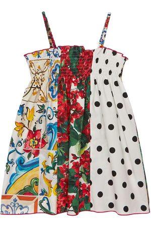 Dolce & Gabbana Kleid Aus Baumwollpopeline Mit Druck