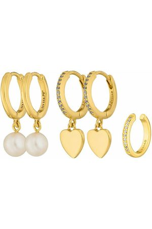 LEAF Damen Uhren - Ohrringe Set Earcuff Zirconia and Creoles Heart and Pearl Yellow Gold gelbgold