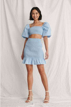 Curated Styles Damen Miniröcke - Gesmockter Minirock - Blue