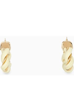 Bottega Veneta White leather and silver hoop earrings