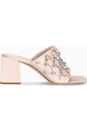Miu Miu Crystal embellished satin sandals