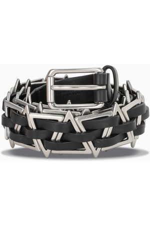 Bottega Veneta Herren Gürtel - Black leather belt with metal triangles