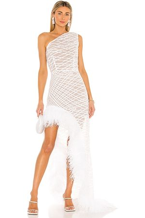 Bronx and Banco Lola Blanc Sheer Feather Gown in . Size XS, S, M.