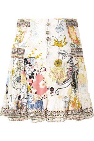 Camilla Ruffled button-down silk skirt