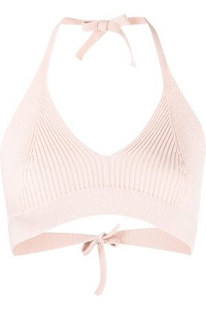 AMI AMALIA Ribbed-knit cropped top