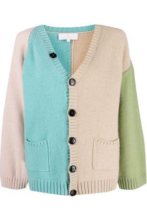 AMI AMALIA Colour-block merino wool cardigan