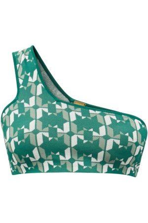 Dodo Bar Or Sherry One-shoulder Geometric-jacquard Cropped Top
