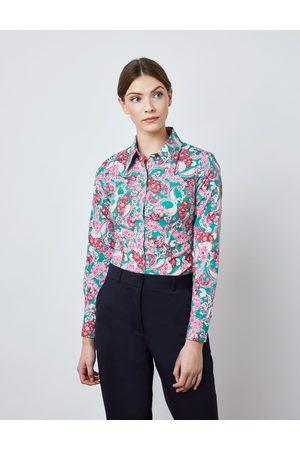 Hawes & Curtis Damen Bluse   Größe 48 Slim Fit Vintage-Kragen Paisley