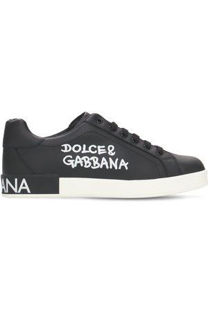Dolce & Gabbana Mädchen Sneakers - Schnürsneakers Aus Leder Mit Logodruck
