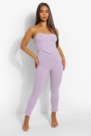 Boohoo Womens Bandeau Corset & Slim Fit Trousers - - 32