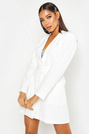 Boohoo Womens Blazerkleid Mit Tasche Und Gürtel - - 34