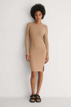 NA-KD Ribbed Long Sleeve Dress