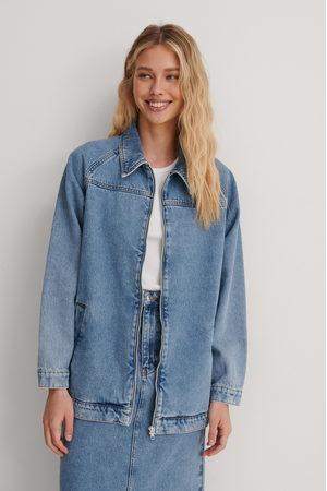 NA-KD Recycelt Oversize-Jeansjacke Mit Reißverschluss - Blue