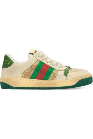 Gucci Laminierte Ledersneakers Mit Webdetail