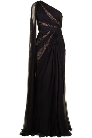 Zuhair Murad One-shoulder draped lace gown