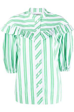 GANNI Damen Blusen - Gestreiftes Hemd mit Ballonärmeln