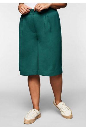 Sheego Damen Bermuda Shorts - Bermudas aus Crêpe, mit weitem Bein und Kellerfalte