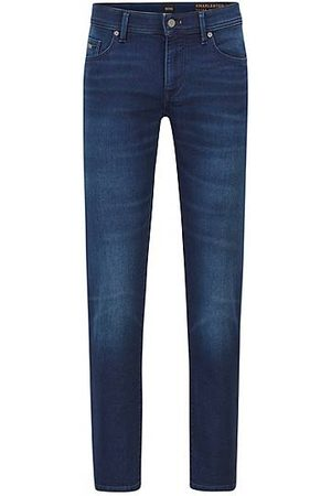 HUGO BOSS Skinny-fit jeans in dark-blue cosy-knit denim