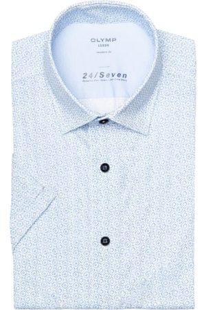 Olymp Herren Business - Halbarm-Hemd Luxor 24/7 Modern Fit Aus Jersey blau