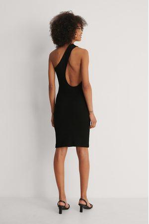 NA-KD Damen Asymmetrische Kleider - Asymmetrisches Einseitig Schulterfreies Kleid - Black