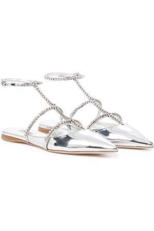 Miu Miu Verzierte Slippers aus Metallic-Leder