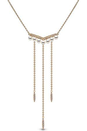 Yoko London Damen Halsketten - 18kt Trend Gelbgoldhalskette mit Süßwasserperle und Diamanten