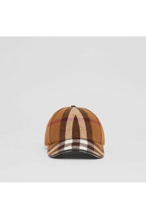 Burberry Damen Hüte - Basecap aus Wolle im Karodesign mit Lammlederbesatz, Brown