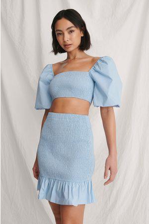 Curated Styles Damen Tops & T-Shirts - Kurzes Kittel-Top - Blue