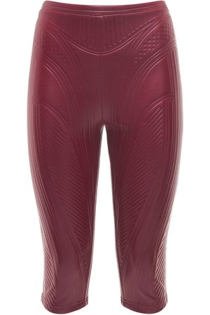 MUGLER Damen Hosen & Jeans - Glänzende Jersey-bikerhose Mit Prägung