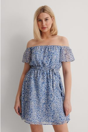 NA-KD Damen Freizeitkleider - Recycelt Durchscheinendes Schulterfreies Minikleid - Blue