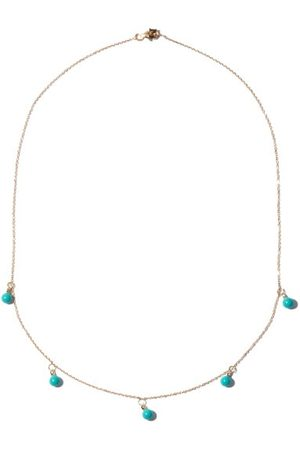 Mateo Five Dot Diamond, Turquoise & 14kt Necklace