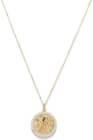 Mateo Virgo Large Diamond & 14kt Zodiac Necklace