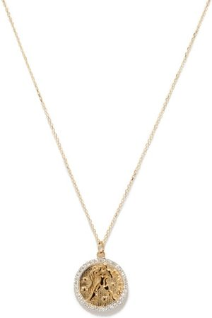 Mateo Aquarius Large Diamond & 14kt Zodiac Necklace