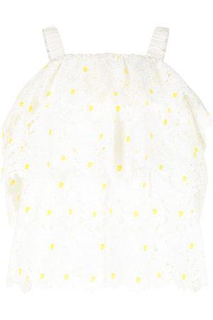 BAPY Schulterfreie Bluse mit floraler Stickerei