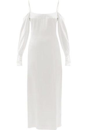 Galvan Valencia Off-the-shoulder Silk-satin Dress