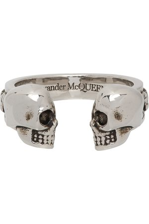 Alexander McQueen Silver Twin Skulls & Serpent Ring
