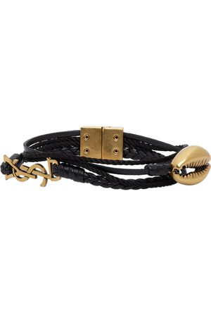 Saint Laurent Black Leather Braided Monogram Bracelet
