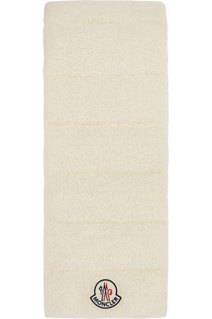 Moncler Damen Schals - White Shearling Logo Scarf
