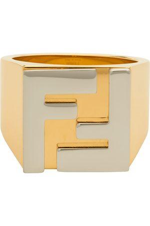 Fendi Herren Ringe - Gold & Silver 'Forever ' Logo Signet Ring