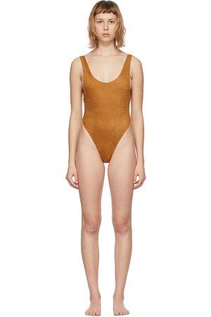 Reina Olga Tan Suede Funky One-Piece Swimsuit