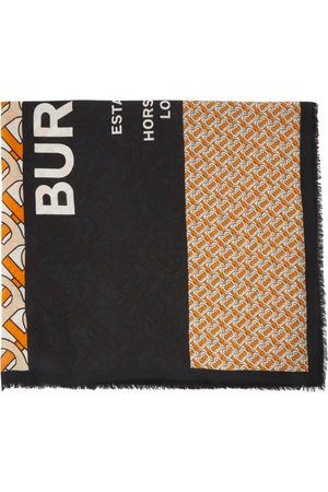 Burberry Orange & Black Large Monogram Scarf