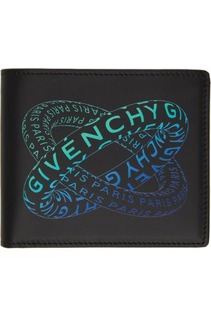 Givenchy Black & Blue Graphic Logo Bifold Wallet