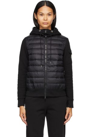 Moncler Damen Mäntel - Black Down Jersey Cardigan Jacket